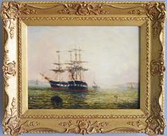 HMS Seaflower and HMS Seahorse, oil on board