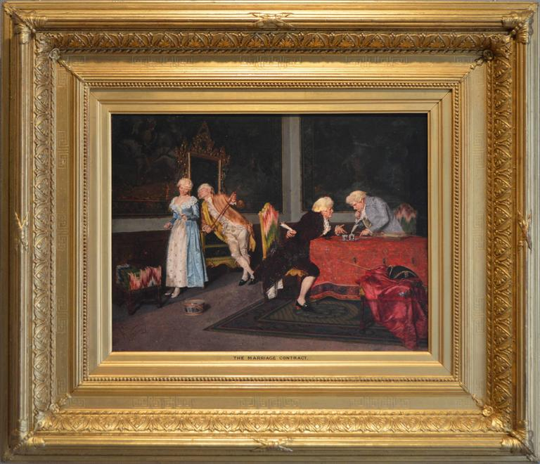 Felice vezzani the marriage contract oil on panel for Artist mural contract