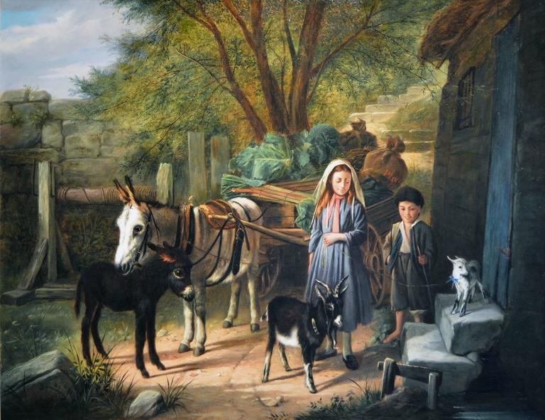 Market Day, oil on canvas - Painting by Charles Hunt