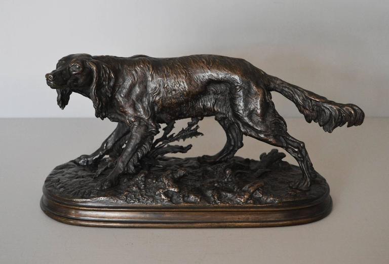 Pierre Jules Mêne Figurative Sculpture - Epagneul Anglais, bronze sculpture