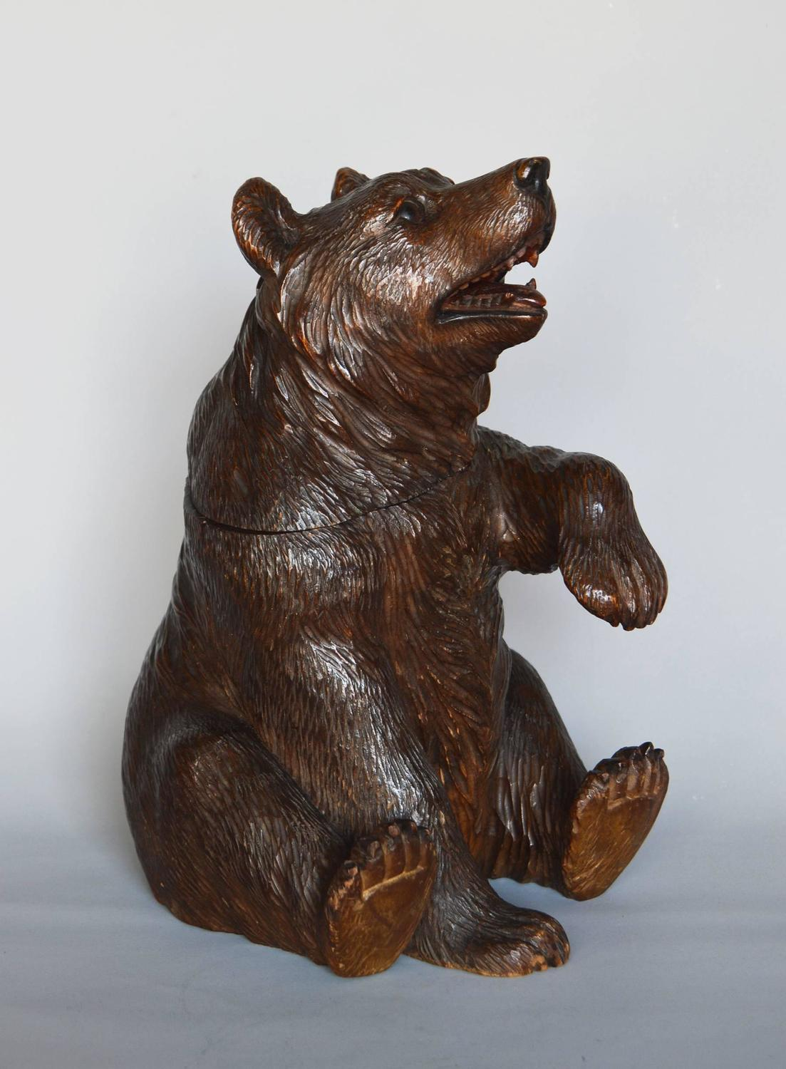 Unknown swiss black forest carved bear tobacco jar