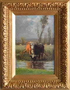 19th Century Dutch Landscape oil painting of cattle by a river