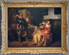 19th Century historical genre oil painting of a cavalier