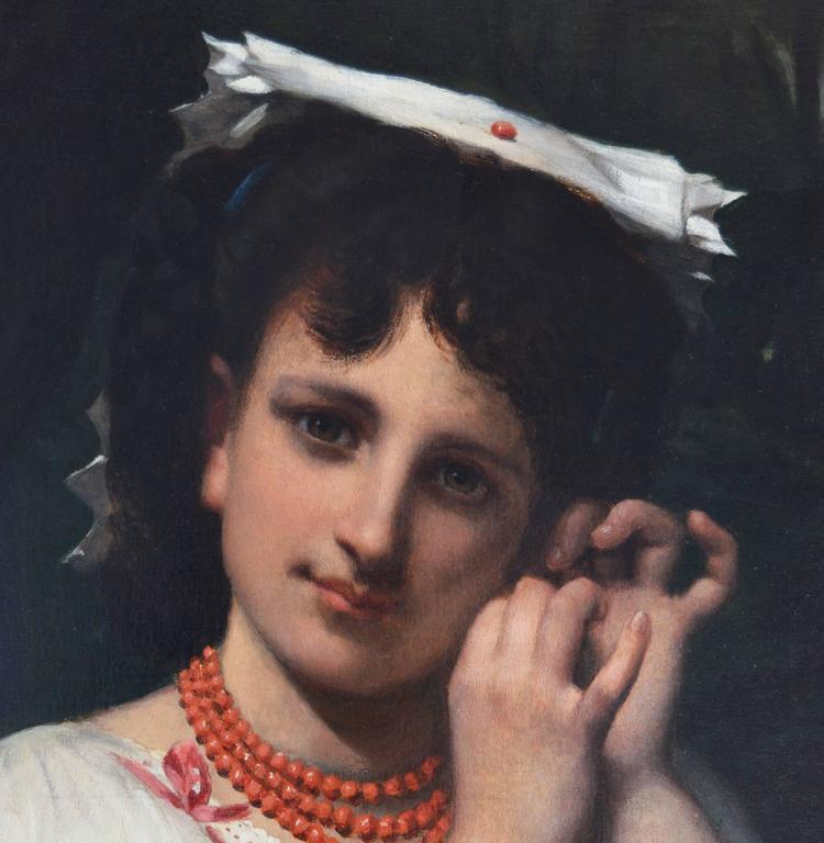 The Coral Necklace - Brown Portrait Painting by Pierre-Louis-Joseph de Coninck