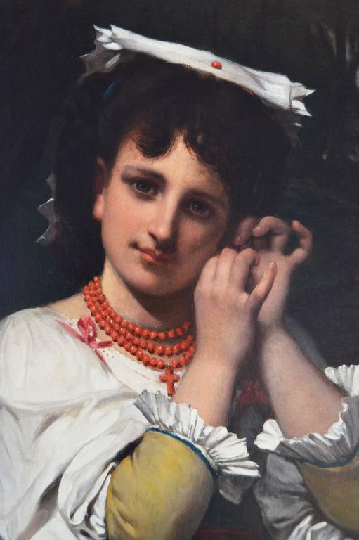 The Coral Necklace - Late Victorian Painting by Pierre-Louis-Joseph de Coninck