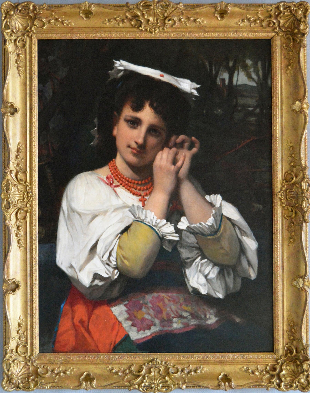 19th Century portrait oil painting of an Italian maiden