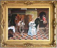 19th Century historical genre oil painting of a courtship
