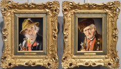 19th Century pair of oil painting portraits of Bavarian Gentlemen