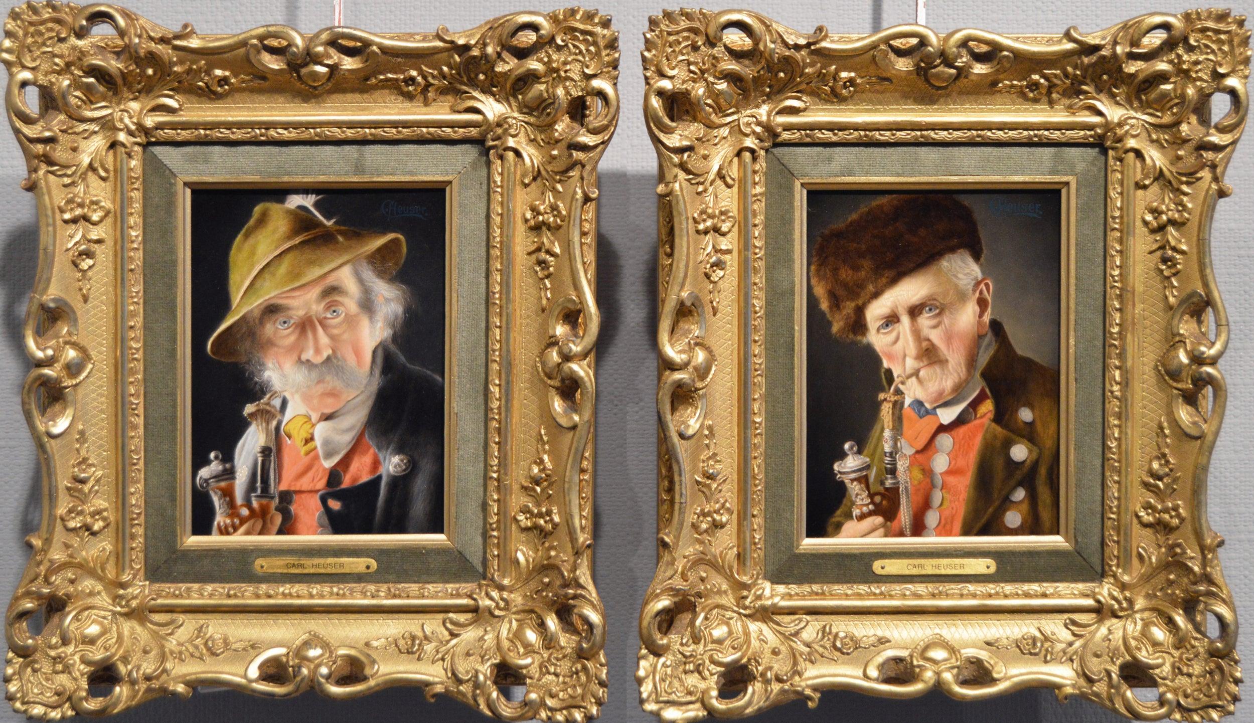 19th Century pair of oil painting portraits of Bavarian Gentlemen