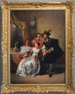 19th Century historical genre oil painting of a lady & her physician