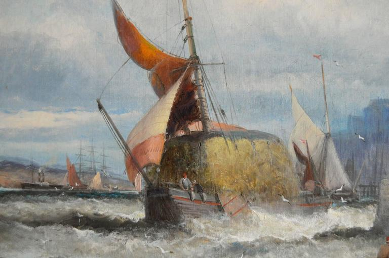 Hay Barge on the Medway - Brown Landscape Painting by Hubert Thornley