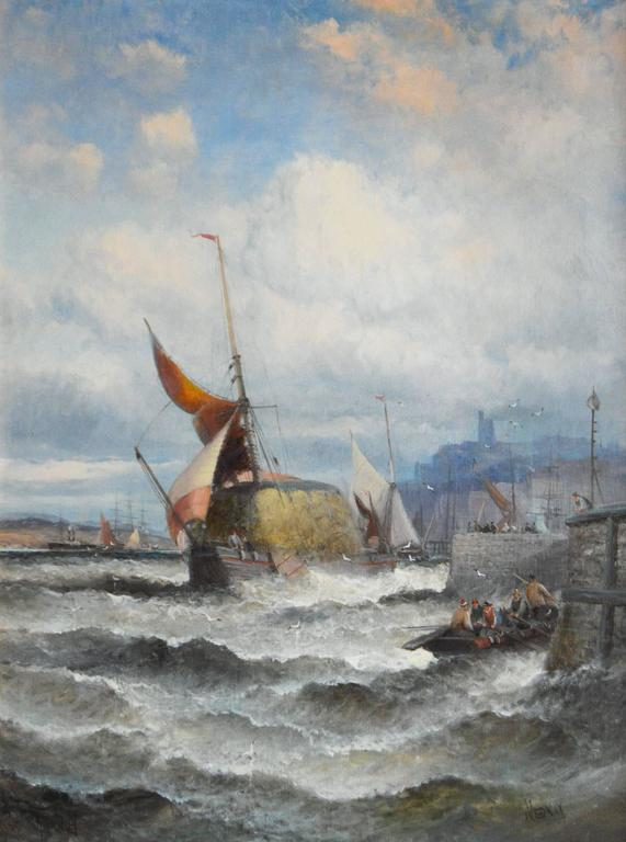 Hay Barge on the Medway - Painting by Hubert Thornley
