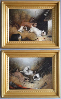 19th Century pair of oil paintings with terriers ratting in a barn