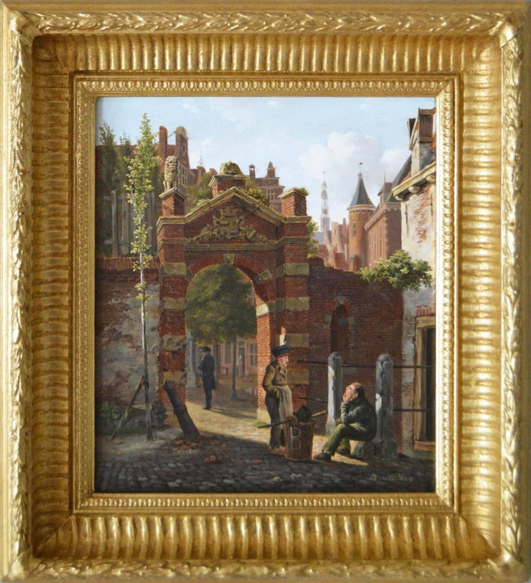 Johannes Bartholomeus van Hove Landscape Painting - 19th Century landscape oil painting of figures in a Dutch townscape