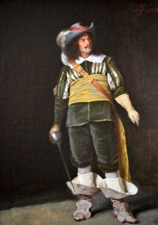 An Italian Cavalier - Painting by Alcide Segoni