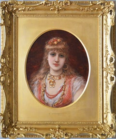 19th Century portrait oil painting of young woman