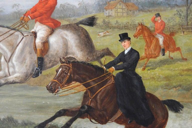 Over the Brook - Brown Animal Painting by Edward Benjamin Herberte