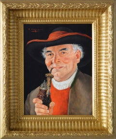 Portrait oil painting of an Austrian Gentleman with a Pipe