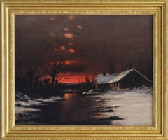 19th Century landscape oil painting of a sunset in winter