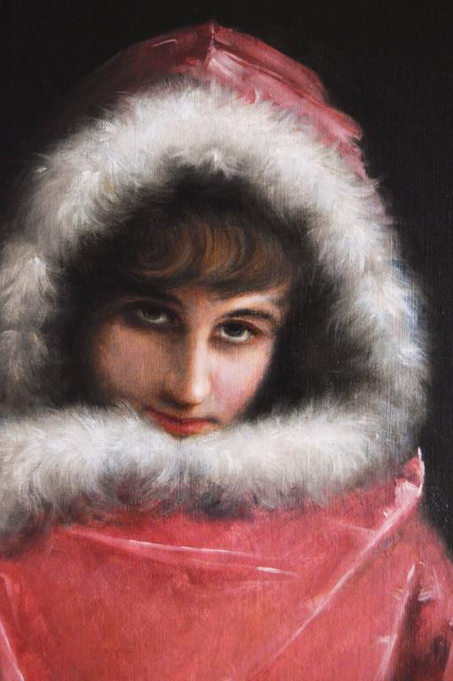 The Fur Trimmed Cloak - Victorian Painting by Mariano Alonso Pérez