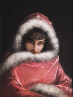 19th Century oil painting portrait of a young woman in a cloak
