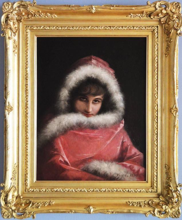 Mariano Alonso Pérez Portrait Painting - The Fur Trimmed Cloak