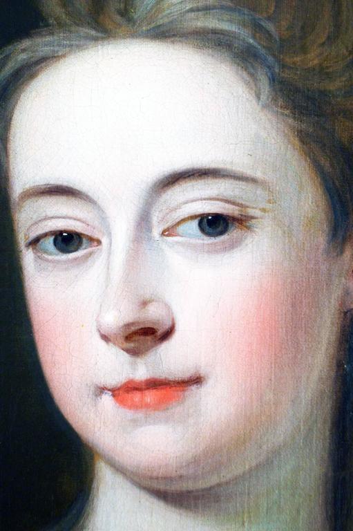 Portrait of a Lady - Black Portrait Painting by Studio of Michael Dahl
