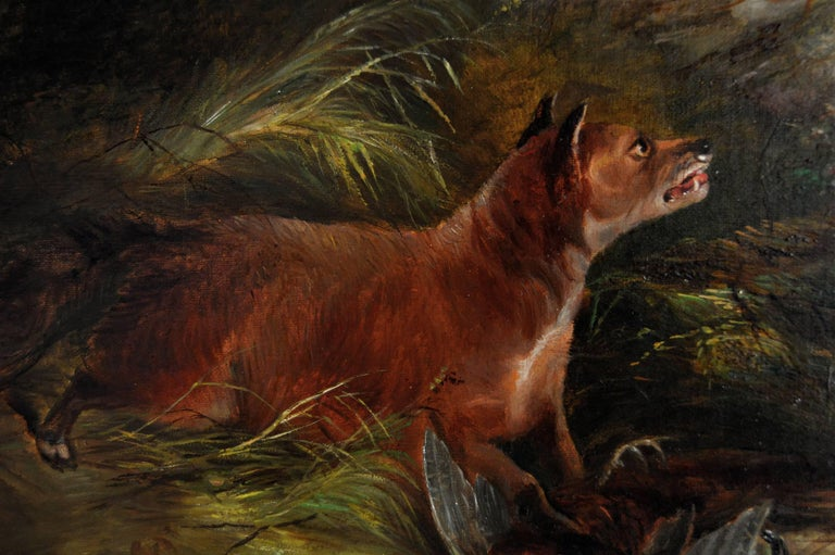 19th Century sporting oil painting of terriers & fox  - Brown Animal Painting by Edward Armfield