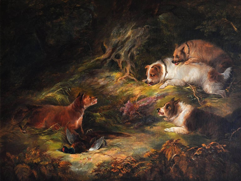 19th Century sporting oil painting of terriers & fox  - Painting by Edward Armfield