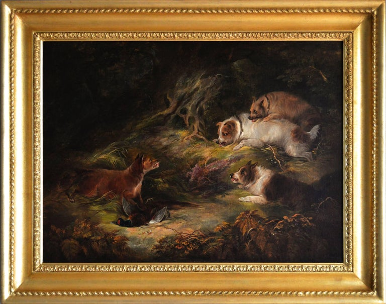 Edward Armfield Animal Painting - 19th Century sporting oil painting of terriers & fox