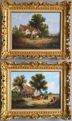 Pair of 19th century landscape oil paintings of a village