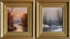 Sunset by a River & Winter by a River, pair