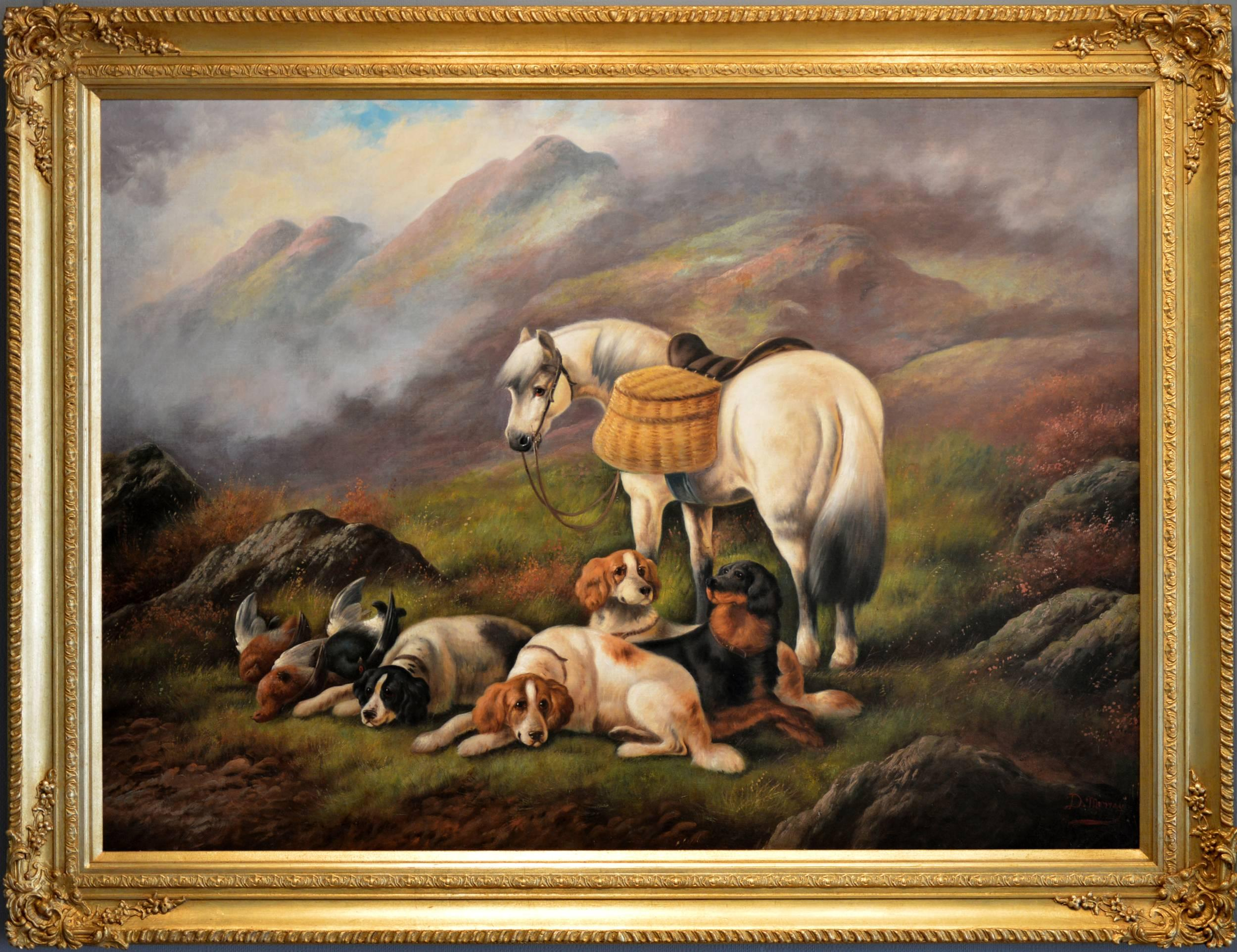 19th Century Highland sporting scene oil painting with dogs & a horse