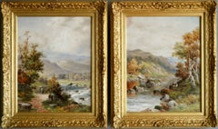 Pair of Welsh river landscape oil paintings of North Wales