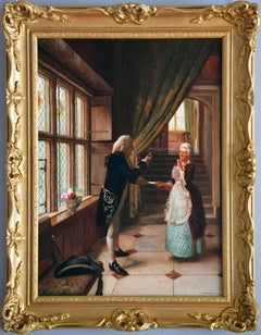19th Century genre oil painting of a gentleman & a maid