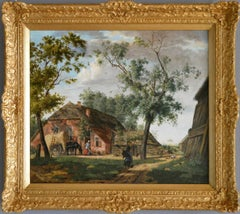 Early 19th Century landscape oil painting of a farm