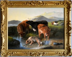 19th Century Highland landscape oil painting of cattle & a dog