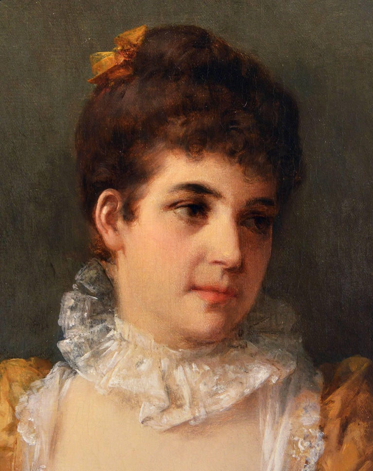 Portrait of a Lady - Victorian Painting by Otto Erdmann