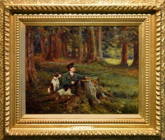 Landscape sporting oil painting of a hunter & dog