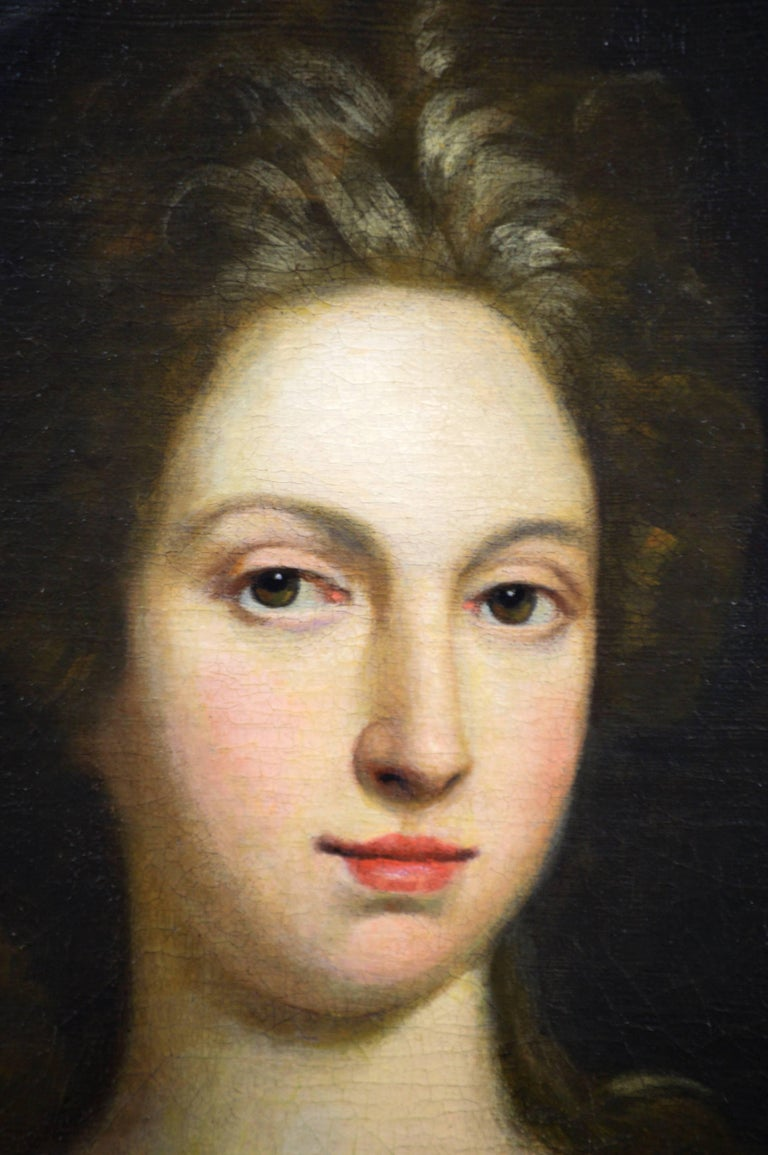 Portrait of a Lady - Black Portrait Painting by Circle of Sir Godfrey Kneller