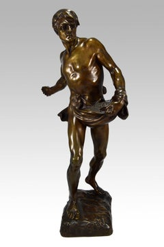 19th Century French bronze sculpture of a man sowing seeds