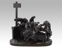 19th Century French bronze sculpture of monkeys racing on horses