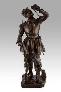 19th Century French bronze sculpture of a soldier