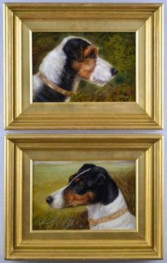 Pair of dog portrait oil paintings of fox terriers