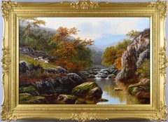 19th Century river landscape oil painting of the Lledr North Wales
