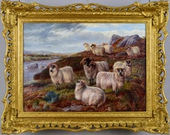 19th Century landscape oil painting of sheep in the Highlands