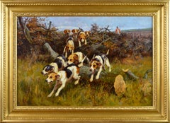 19th Century landscape sporting oil painting of dogs hunting