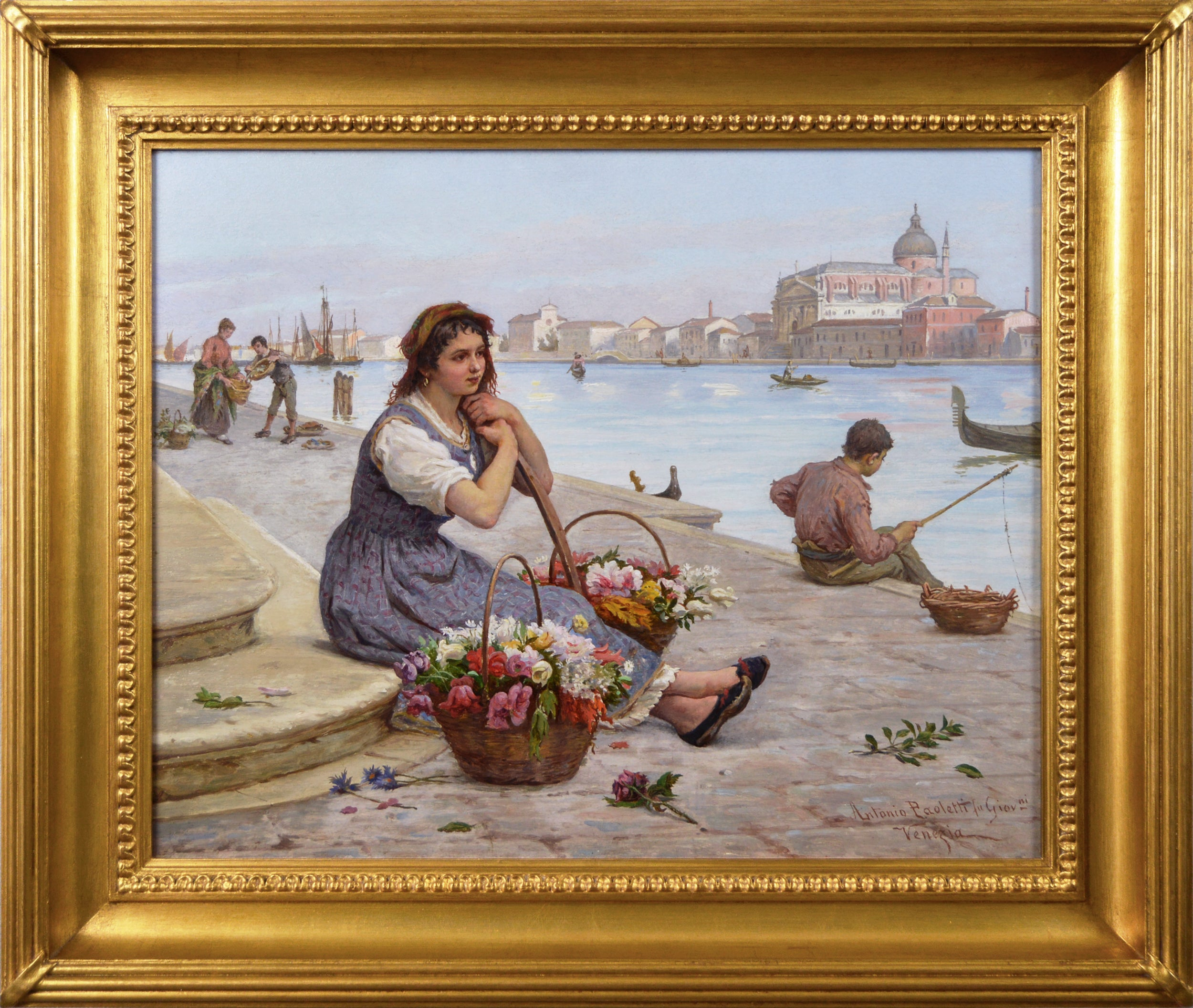 19th Century townscape oil painting of a flower seller by the Grand Canal Venice