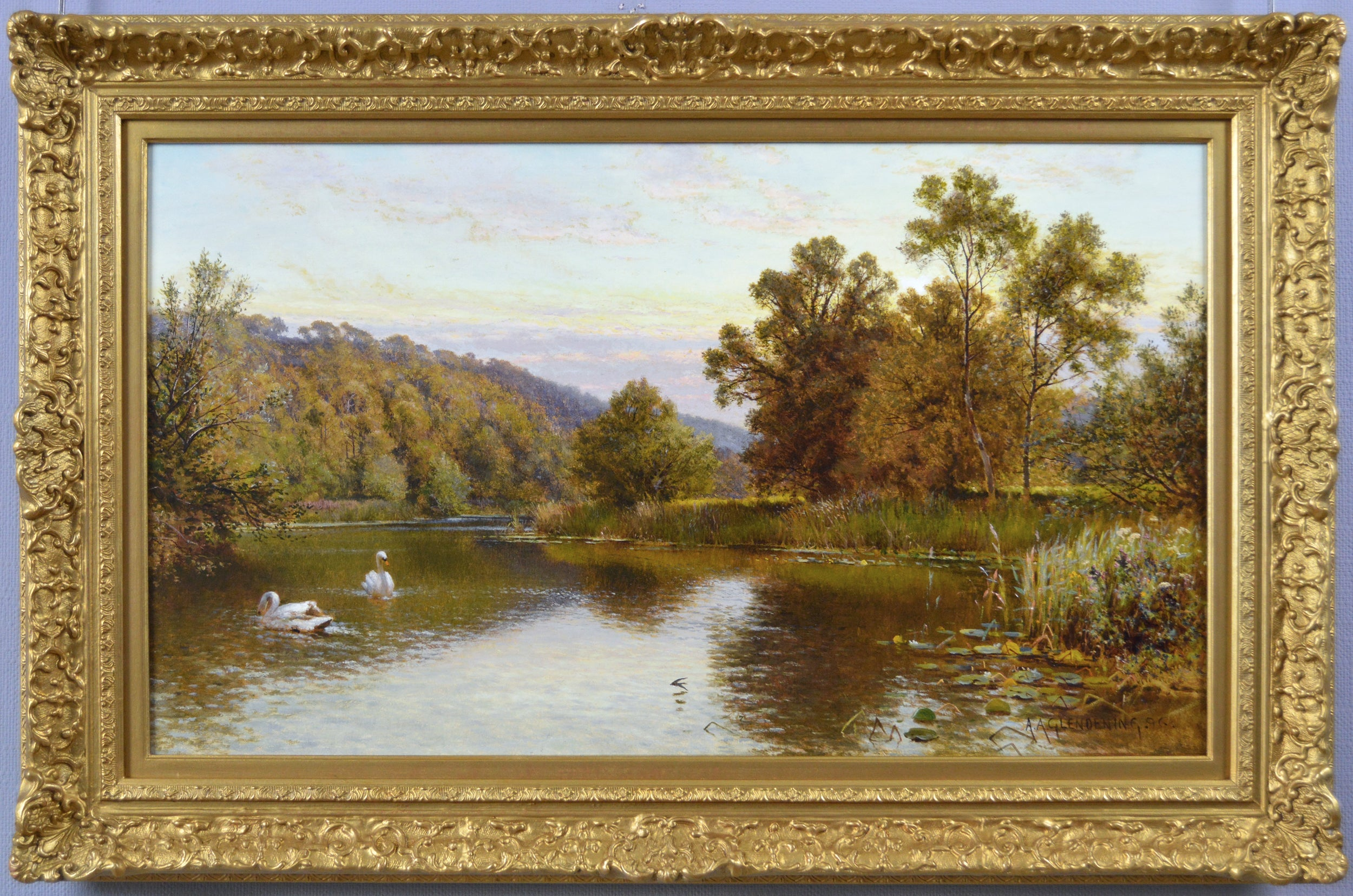 19th Century landscape oil painting of swans on a river