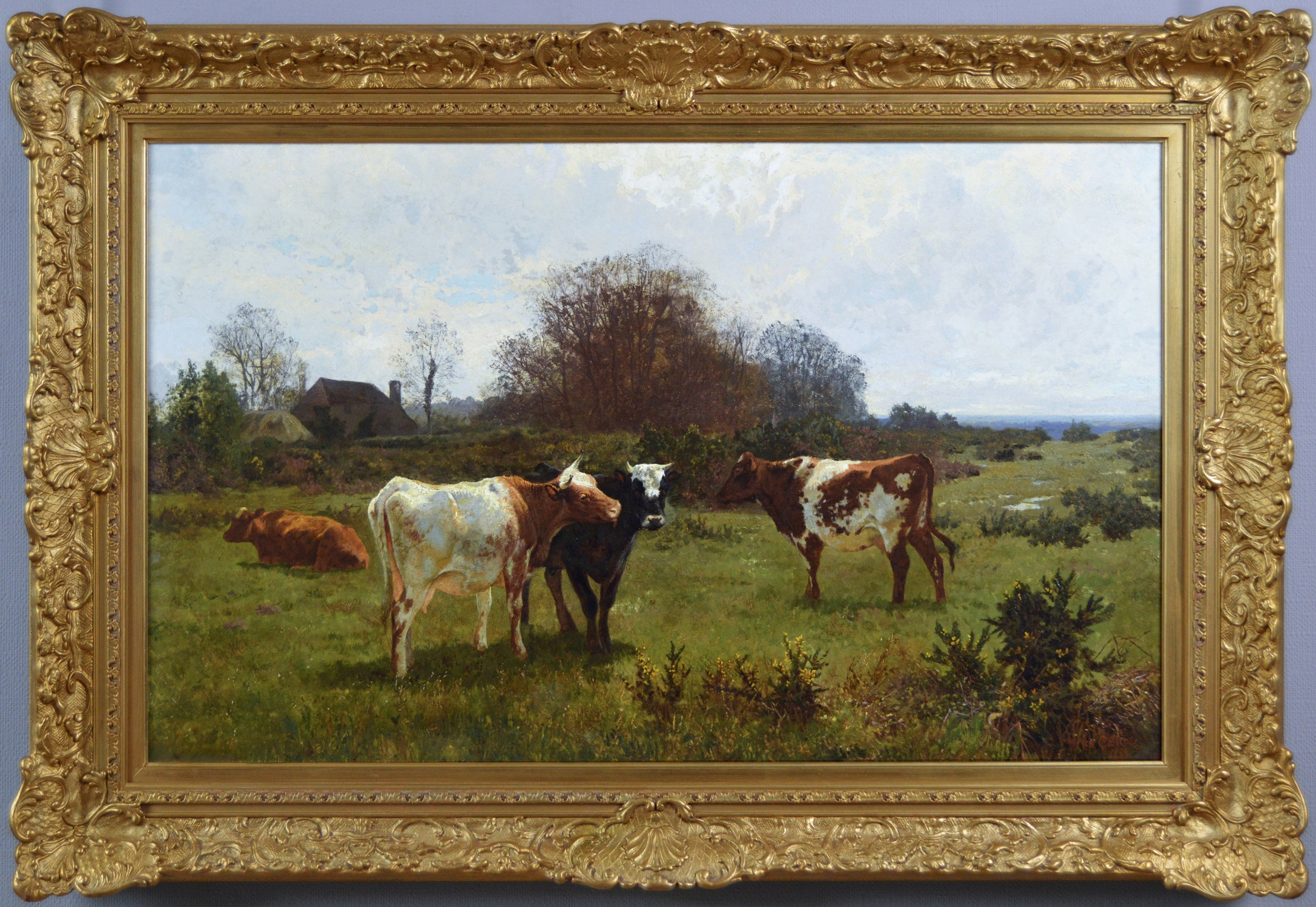 19th Century landscape oil painting of cattle grazing